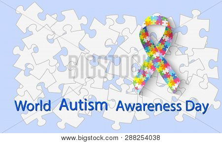 World Autism Awareness Day. Symbolic Ribbon From Rainbow Puzzles. Symbol Of Autism. Health Care - Il
