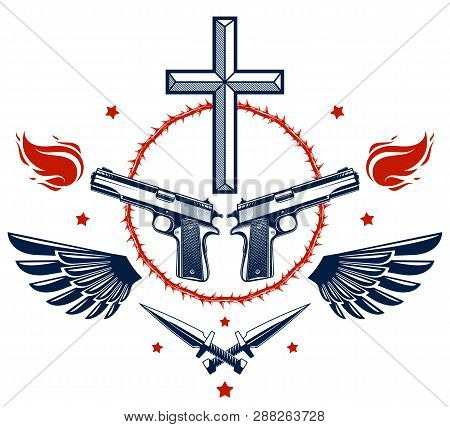 Criminal Gangster Dramatic Emblem Or Logo With Christian Cross Symbolizing Death, Weapons And Differ