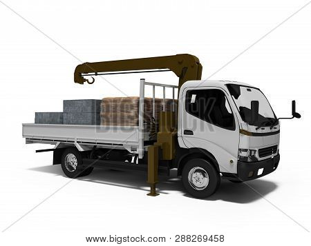 White Tow Truck With Brown Crane Full Of Building Materials 3d Render On White Background With Shado