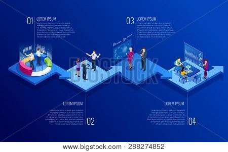 Isometric Concept Of Analytics, Strategy, Investment, Management, Investment, And Virtual Finance. C