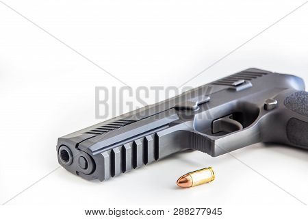 Modern Handgun White Background Isolated Close Up