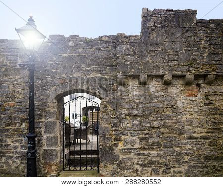 Ramparts And Battlements On The Last Surviving Old Town Medieval Defensive Wall In Poole, Dorset