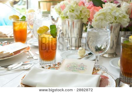 Glass Of Ice Tea On A Sun Drenched Table