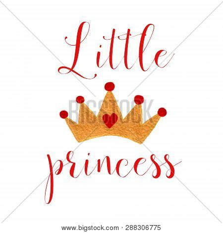 Nursery Baby Print Little Princess With Watercolor Crone Graphic