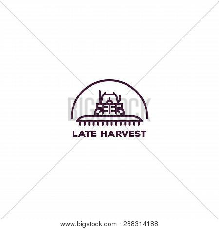 Pixel Perfect Farming Logo. Front View Of Tractor For Farming With Cultivator. Line Style Vector Ill