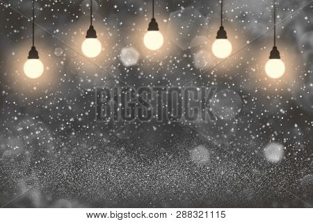Orange Pretty Bright Abstract Background Light Bulbs With Sparks Fly Defocused Bokeh - Festal Mockup