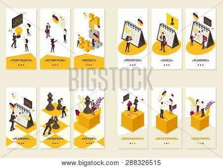 Set Isometric Template app 3D design concept Business strategy, planning, disagreements, creating projects. poster