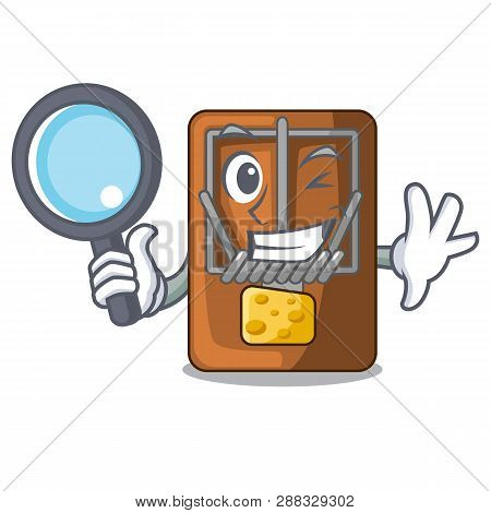 Detective Mousetrap In The Shape Mascot Wood