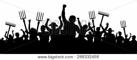 Crowd Of People With A Pitchfork Shovel Rake. Angry Peasants Protest Demonstration. Riot Workers Vec