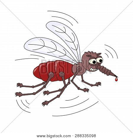 Evil Scary Mosquito With A Drop Of Blood On The Sting. Cartoon Character