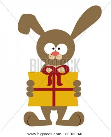 bunny with present