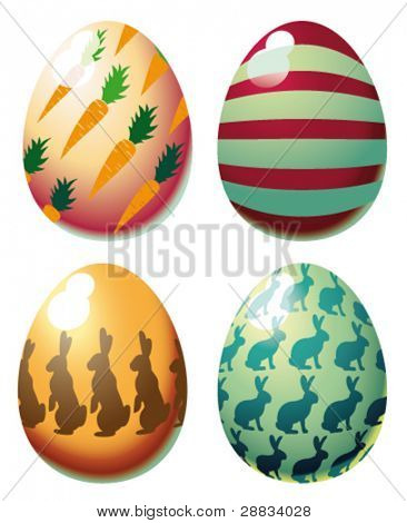 colorful glossy easter eggs