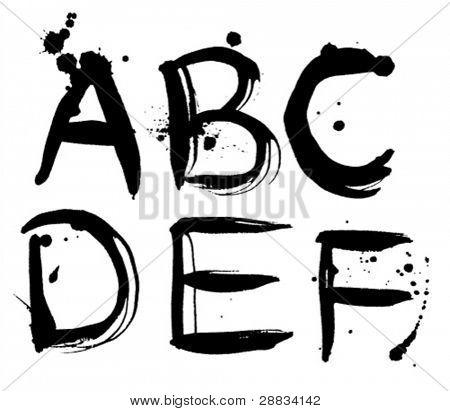 stroke alphabet a-f