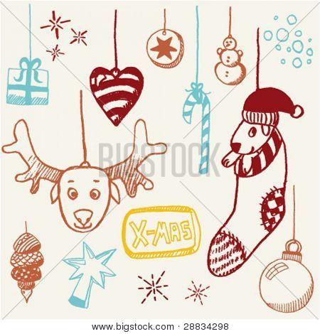 doodle set - xmas tags
