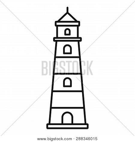Coast Lighthouse Icon. Outline Coast Lighthouse Icon For Web Design Isolated On White Background