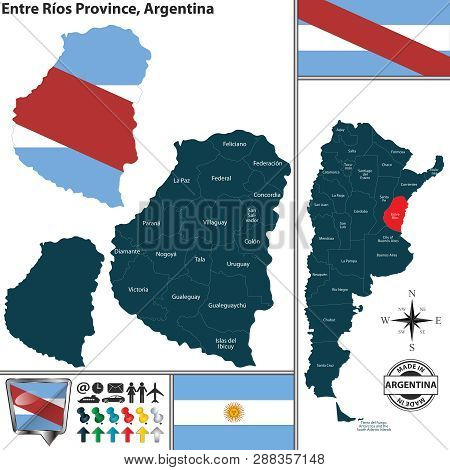 Vector Map Of Entre Rios Province And Location On Argentinian Map