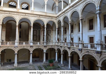 Palermo, Sicily 5 January 2016: Courtyard Of Palazzo Dei Normanni (palace Of The Normans Palazzo Rea