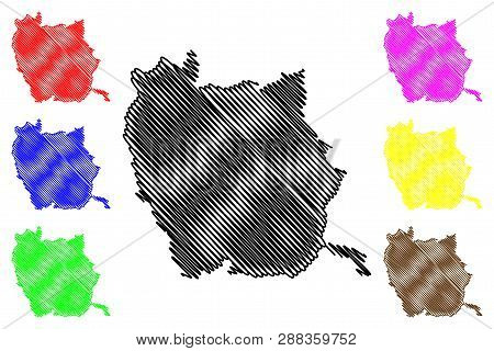 Phichit Province (kingdom Of Thailand, Siam, Provinces Of Thailand) Map Vector Illustration, Scribbl