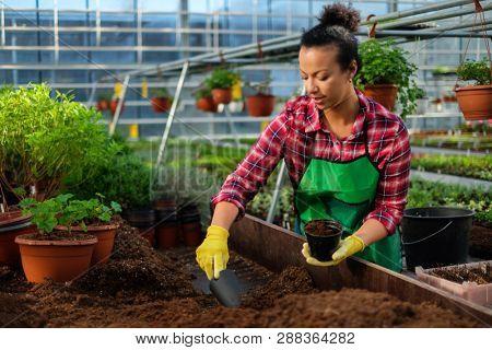 Black woman working in a botanical garden