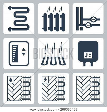 Vector Icon Set Of Heating And Plumbing