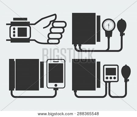 Manual And Electronic Isolated Tonometers Silhouettes Vector Illustration