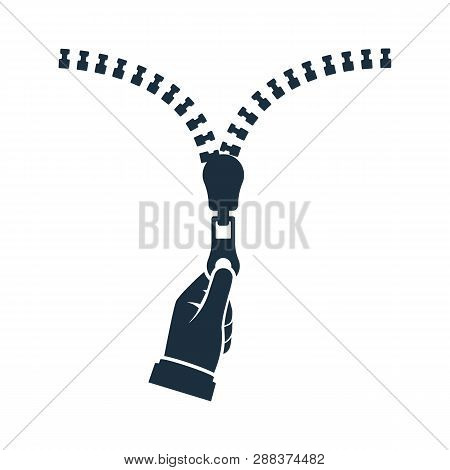Silhouette Hand Pulling Zipper. Vector Illustration Flat Design. Isolated On White Background. Zippe