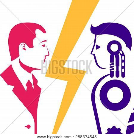 Robot Vs Human. Versus Concept. Vector Illustration Flat Design. Isolated On Background. Rpa Concept