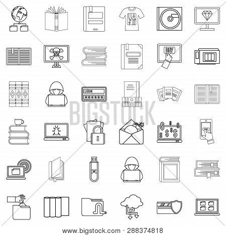 Ebook Icons Set. Outline Style Of 36 Ebook Icons For Web Isolated On White Background