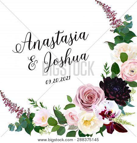 Dark Chic Fall Flowers Vector Design Frame. Orchid, Pink Ranunculus, Dusty Rose, Camellia, Burgundy