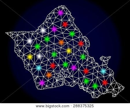 Mesh Vector Map Of Oahu Island With Glare Effect On A Dark Background. Abstract Lines, Triangles, Li