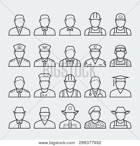 People Professions And Occupations Icon Set In Thin Line Style 1