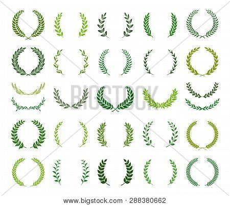 Set Of Green Silhouette Laurel Foliate, Wheat And Olive Wreaths Depicting An Award, Achievement, Her