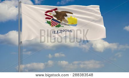 Flag Of Illinois - Us State Fluttering In The Wind Against A Cloudy Sky 3d Rendering