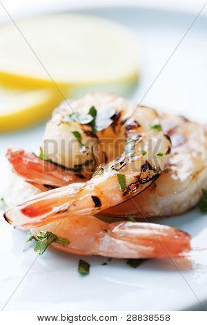 fresh grilled shrimps close up