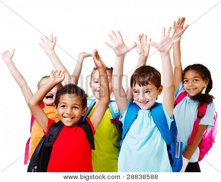 Five happy children with their hands up
