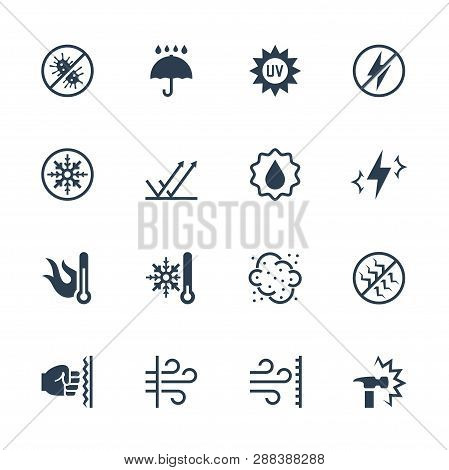 Vector Icons Set Of External Influence And Protection From It. Antibacterial, Water, Heat, Cold, Dus