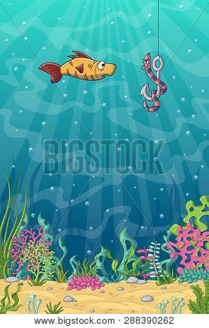 Funny Cartoon Fish And Worm On A Fishhook