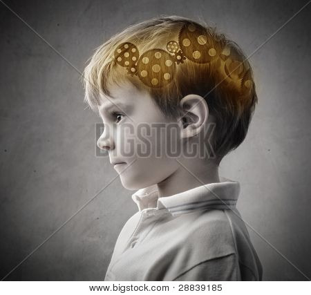 Profile of a child with trundles in his head poster