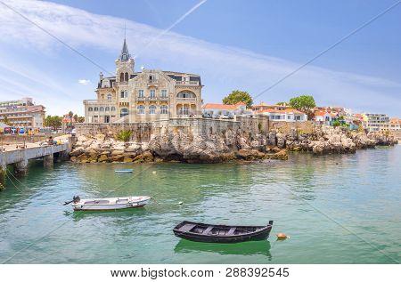 Cascais, Portugal - June 22, 2018: Cascais Near Lisbon, Seaside Town. The House In The Center Is The