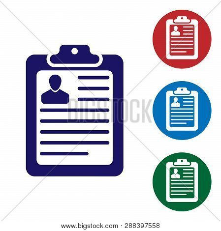 Blue Clipboard With Resume And Man Silhouette Icon Isolated On White Background. Cv Application. Cur