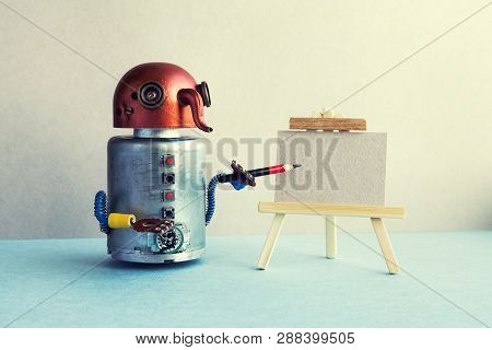 Artificial Intelligence Robotic Concept. Funny Robot Artist Begins To Create A Drawing With A Pencil
