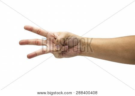 Closeup Male Hand Is Showing Three Fingers. Isolated And White Background Concept. - Image.