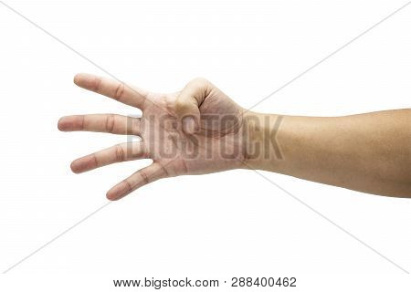 Closeup Male Hand Is Showing Four Fingers. Isolated And White Background Concept. - Image.