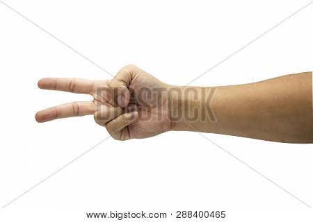 Closeup Male Hand Is Showing Two Fingers. Isolated And White Background Concept. - Image.