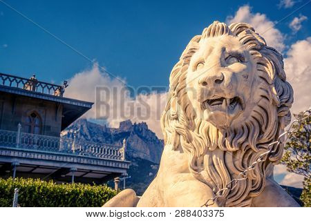 Alupka, Crimea - May 20, 2016: Vorontsov Palace With A Marble Lion In Crimea, Russia. Vorontsov Pala