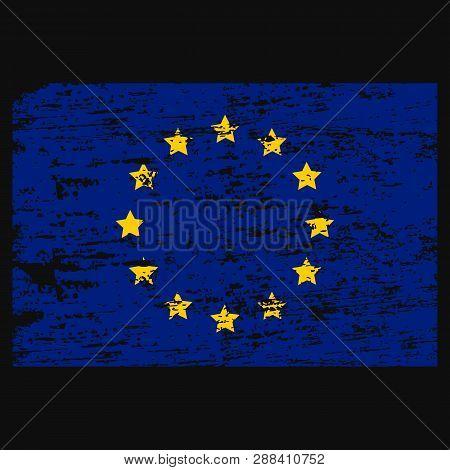 Flag Of Europe Flag Of European Union . Brush Painted Flag Of Europe Hand Drawn Style Illustration W