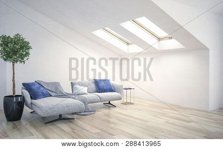 White living room interior with couch standing under a roof slope. 3d Rendering
