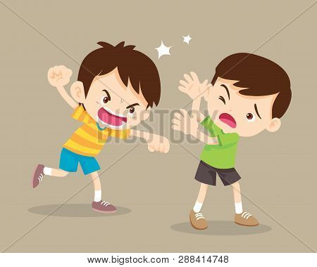 Angry Boy Rampage Hitting Him Friend.little Angry Boy Shouting And Hitting.quarreling Kids.rampage C
