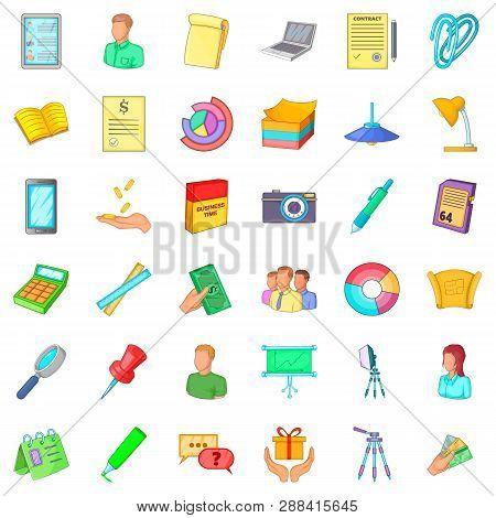 Clerk Icons Set. Cartoon Style Of 36 Clerk Icons For Web Isolated On White Background