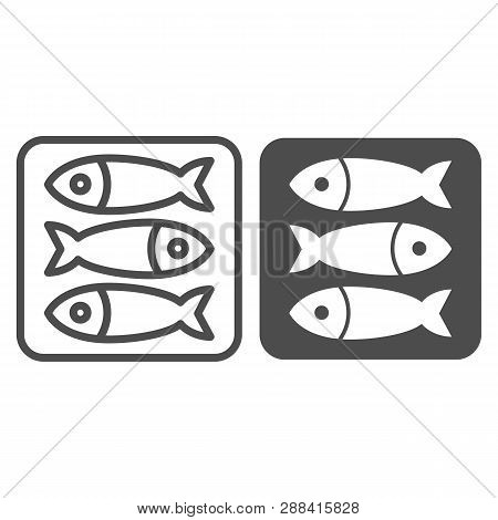 Sprat Fish Line And Glyph Icon. Food Vector Illustration Isolated On White. Seafood Outline Style De